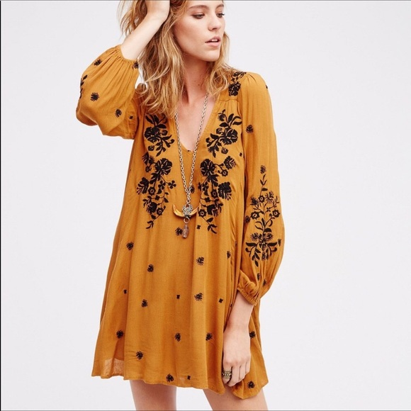 7a4bc66f48b2 Dresses   Skirts - Mustard yellow embroidered peasant dress